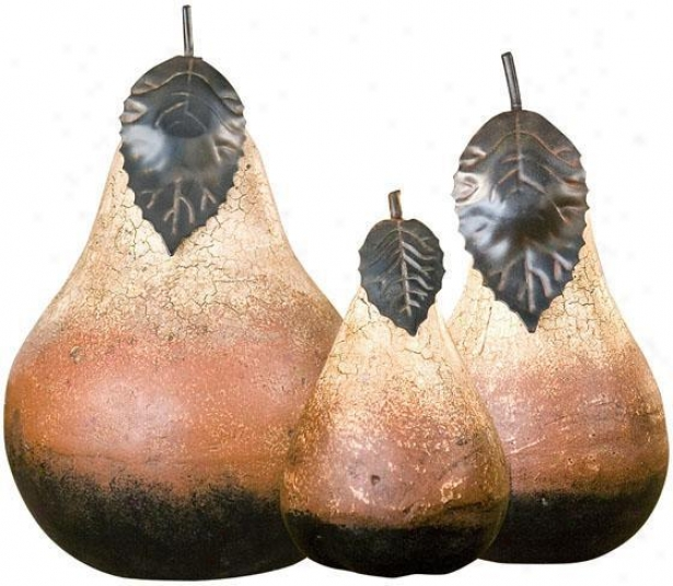 Terra Cotta Pears - Set Of 3 - Leaf Accents, Agd Crcklfivory