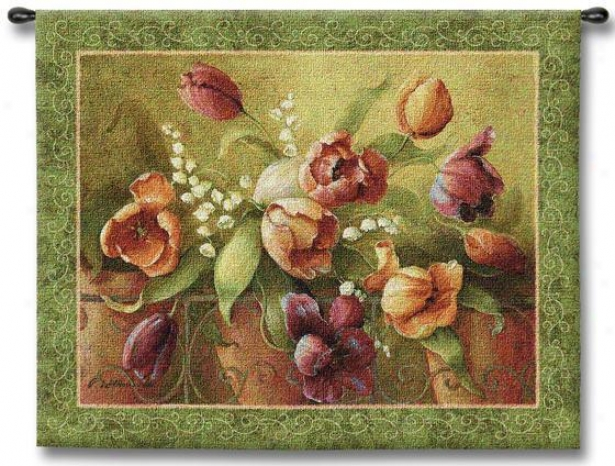 """terrace Tulips Tapestry - 32""""hx45""""w, Multi"""
