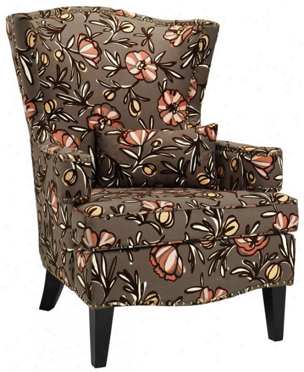 """testoni Wing Back Chair - 41""""hx30""""w, Brown Print"""