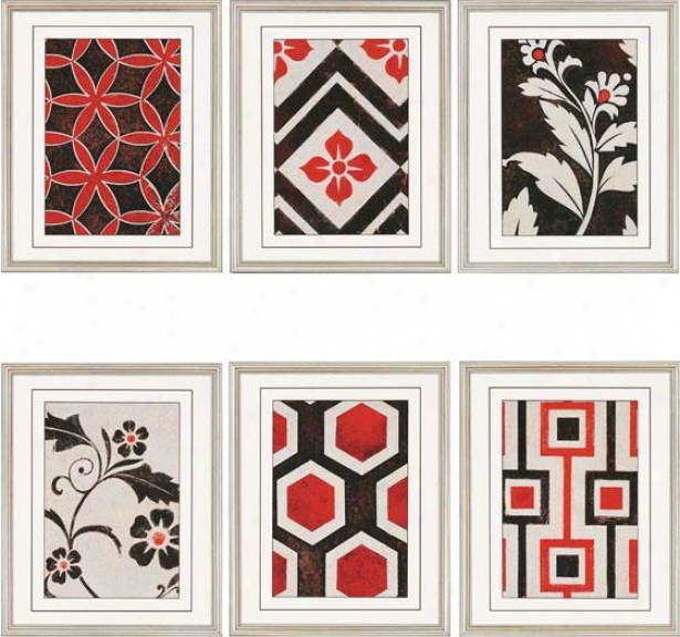 Textiles Wall Art - Set Of 6 - Set Of Six, Red