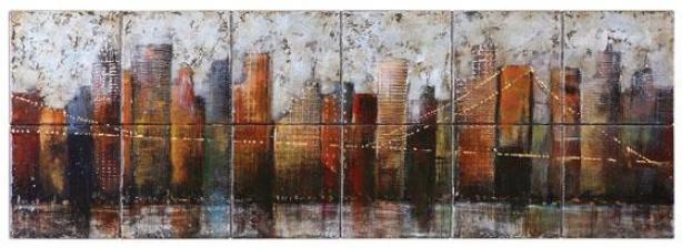 """the City Life Wall Art - 16""""h X 48""""w, Earth Tones"""
