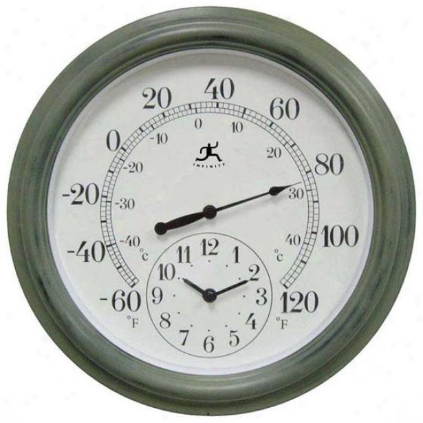 """""""thd Contra Clock/thermometer - 16""""""""hx16""""""""w, Verde/green"""""""