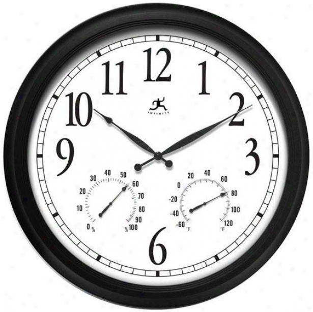 """the Definitive Indor Outdoor Clock - 24""""h, Black"""