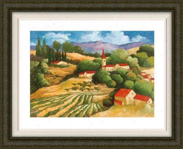 """the Village Framed Wall Art - 3""""hx36""""w, Fltd Burlwood"""