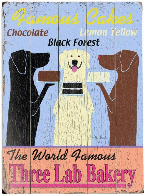 """the World Famous Three Lab Bakery Wooden Sign - 20""""hx14""""w, Blue"""