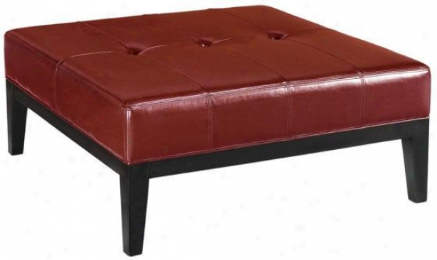 """thompson Square Ottoman - 16""""h, Red"""