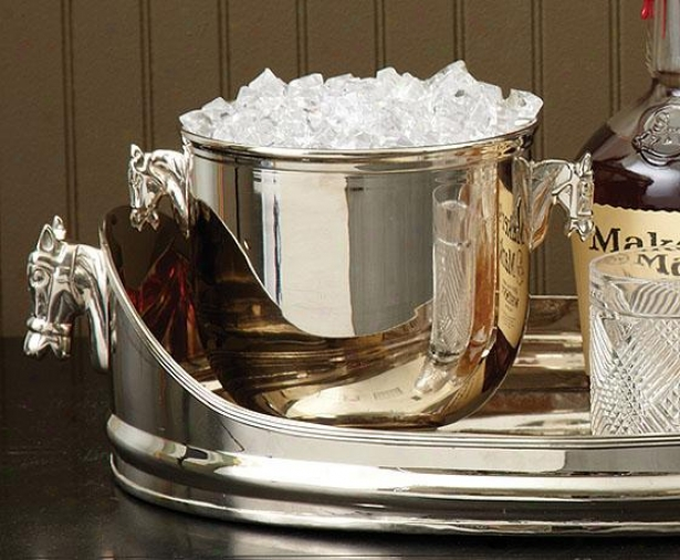 """thoroughbred Ice Bucket - 5""""hx8.5""""round, White"""