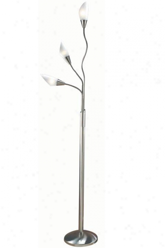 """three Light Floo5 Lamp Ii - 71.5""""h, Silver"""
