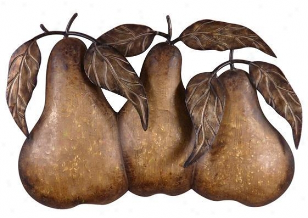 """three Pears Wall Art - 19""""hx29""""w, Antique Tan"""