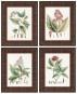 """crimson Botanical Wall Creation of beauty - Set Of 4 - 22""""hx17""""w, Red"""