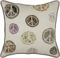 """peace Symbol Pillow - 18"""" Just, Ivorry"""