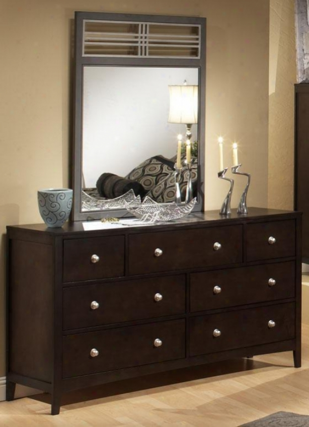 Tiburon Dresser With Wood And Metal Mirror - Set, Coffee Brown