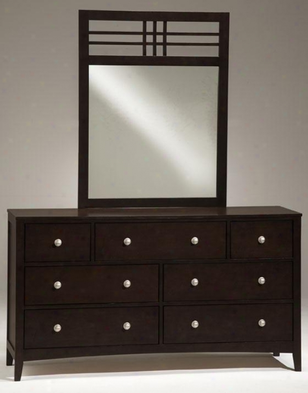Tiburon Dresser With Wood Mirror - Set, Coffee Brown