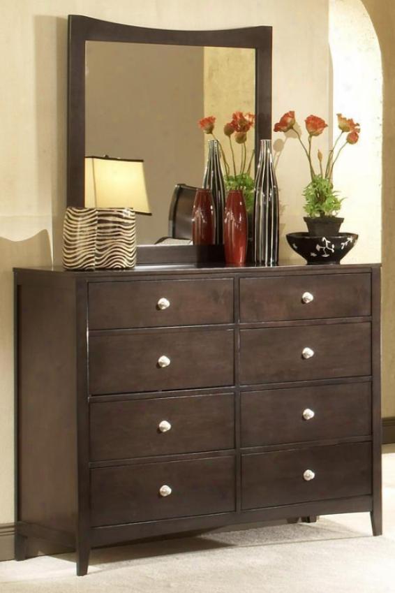 Tiburon Tall Dresser With Tall Mirror - Set, Coffee Brown