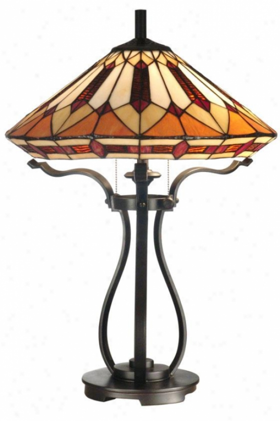 """tiffany Table Lamp - 24.5h X 17.75""""d, Bronze"""