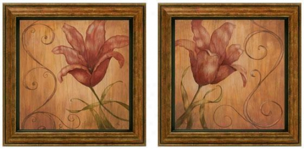 Tiger Lily Framed Wall Art - Set Of 2 - Set Of Two, Earthtones
