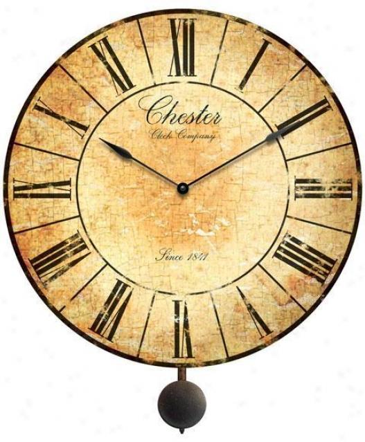 """""""timepiece - Antique Chestsr Clock With Pendulum - 24""""""""d, Antiqued"""""""