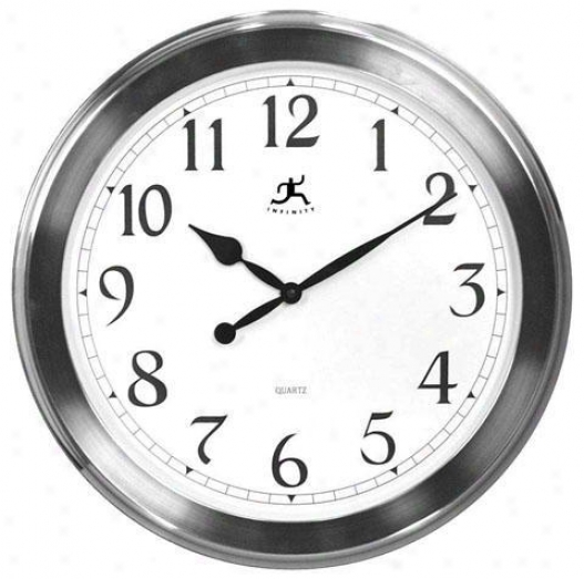 """timepiece - Brushed Nickel Wall Clock - 20""""d, Silver Nickel"""