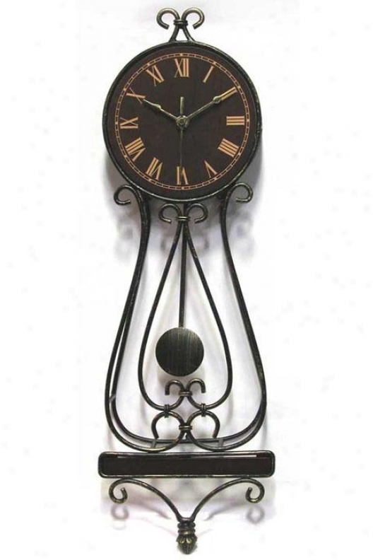 Clock - Classic Wrought Iron Penculum Wall Clokc - Wall, Black Iron
