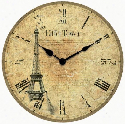Timepiece - Eiffel Tower Wall Clock - Wall, Silver