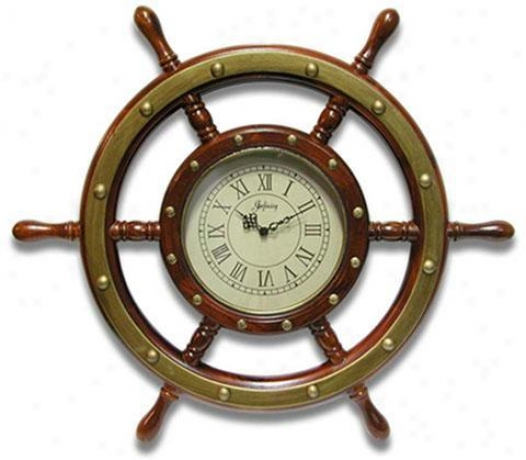 Timepiece - Mariner's Wheel Wall Clock - Wall, Copper Brass