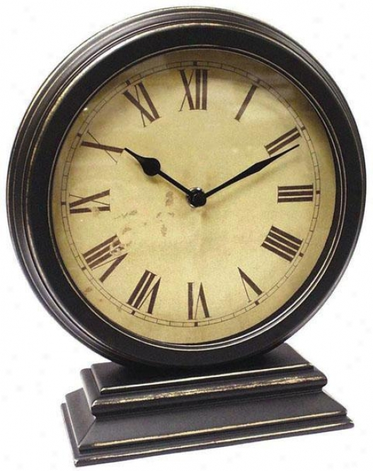 """timepiece - Round Table Clock - 10""""hx9""""w, Black"""