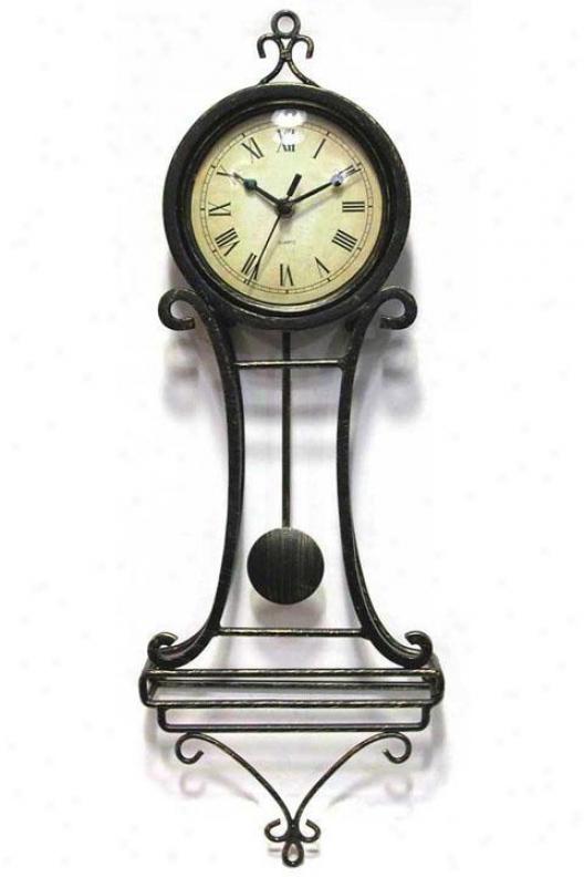 """timepiece - Victorian Age Wrought Iron Pendulum Wall Clock - 22""""hx10""""w, Black Iron"""