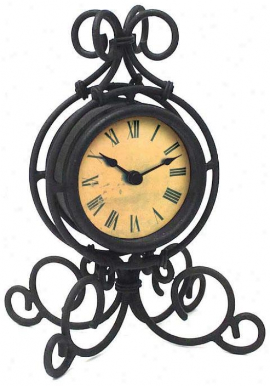 Timepiece - Wrought Iron Table Clock - Table, Dismal