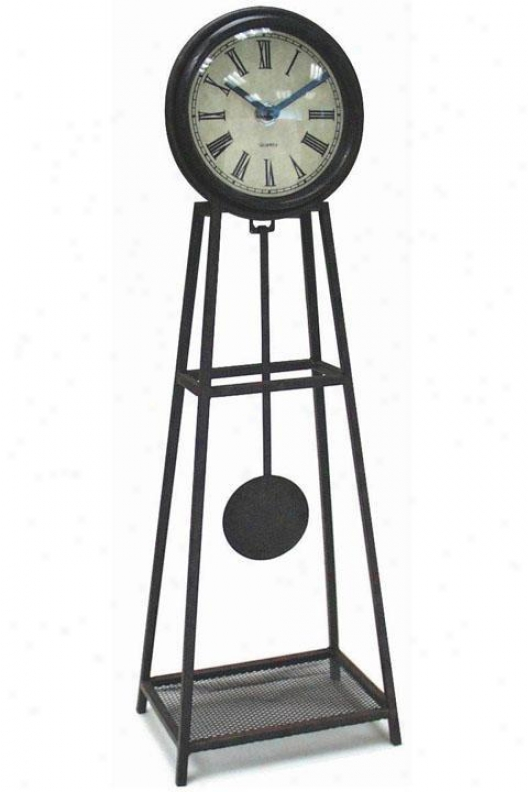 Timepiece - Wrougth Iron Table Clock By the side of Prndulum - Table, Black