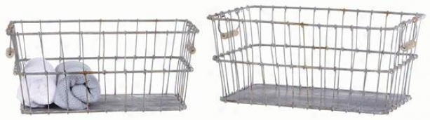 Tin Baskets - Set Of 2 - 19.25x11, Silvery