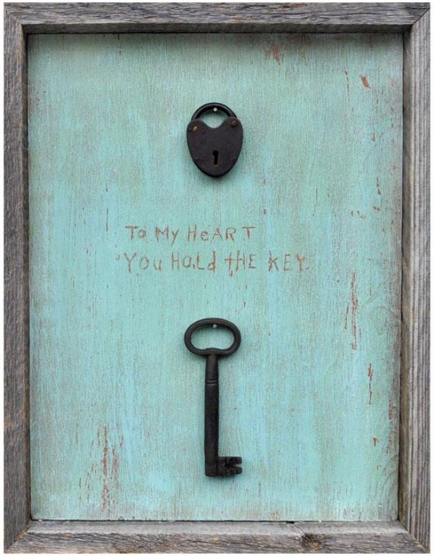 """to My Heart You Hold The Key Wooden Sign - 19 X 15"""", Blue"""