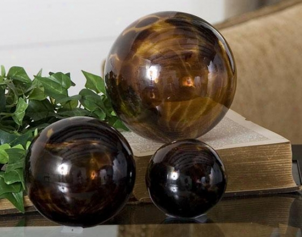 Torgoise Spheres - Set Of 3 - Set Of 3, Brown