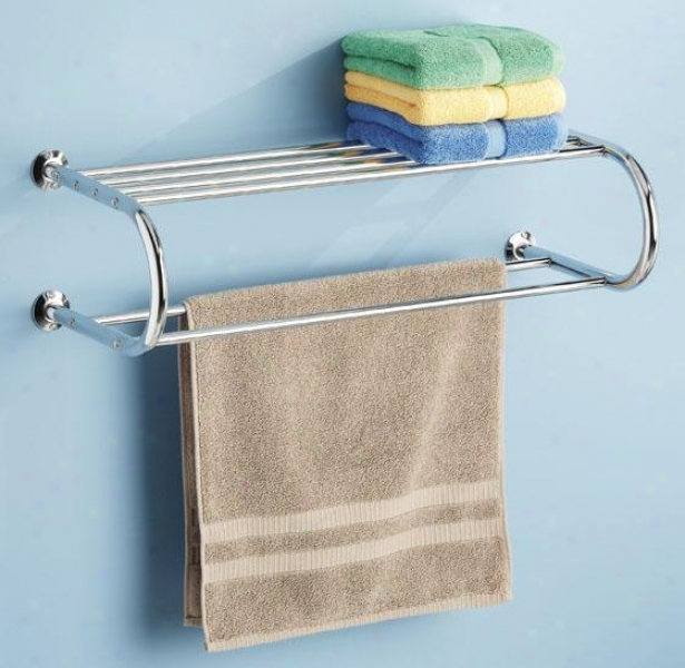 """towel Rack With Shelf - 7.5""""hx26""""wx11""""d, Silver Chrome"""