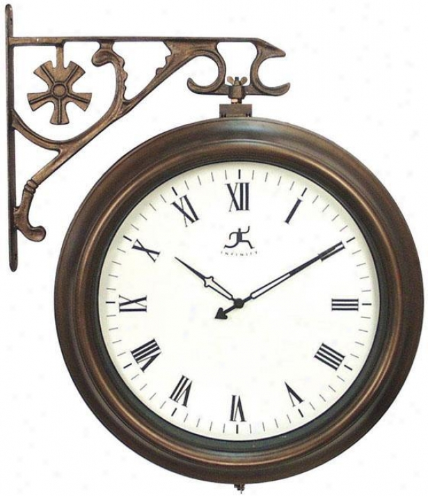 """towne Center Indoor Outdoor Clock - 18.5""""h, Faux Aged Coppr"""