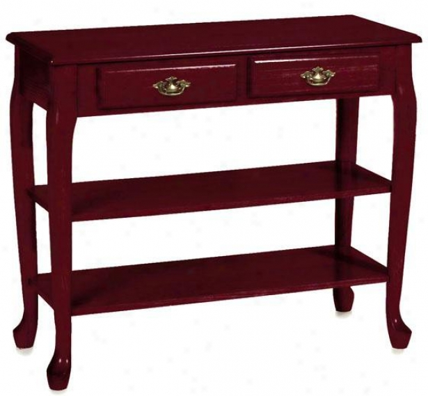 """traditional 36""""w 2-shelf Sofa Console Table - 36""""w, Maroon"""