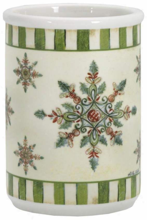 """traditional Ceramic Crock - 6.75""""hx4.75""""r, Green"""