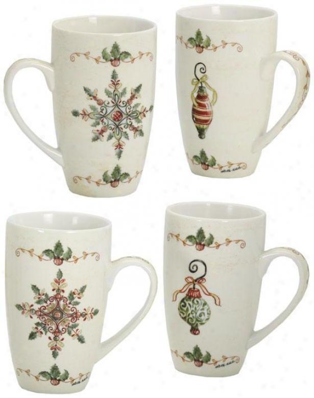 Traditional Ceramic Mug -set Of 4 - Set Of Four, Green