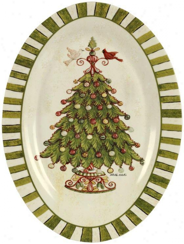 """""""traditional Ceramic Oval Platter - 14""""""""x9"""""""" Oval, Green"""""""