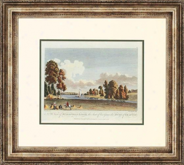 """traditional Landscapes Framed Skill - 21""""hx24""""w, Wakefiled Lodge"""