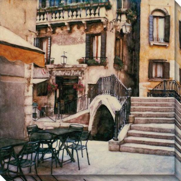 """""""trattoria Al Ponte Canvas Wall Art - 40""""""""hx40""""""""w, White"""""""
