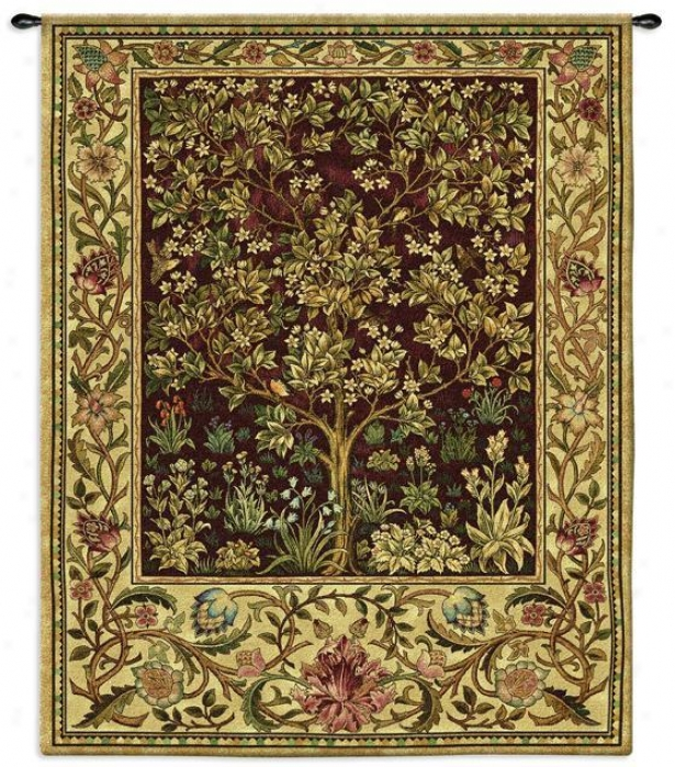 """tree Of Lfe Ii Tapestry - 71""""hx53""""w, Brick Red"""