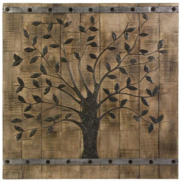 """tree Of Life Wood Wall Array - 36"""" Square, Beige"""