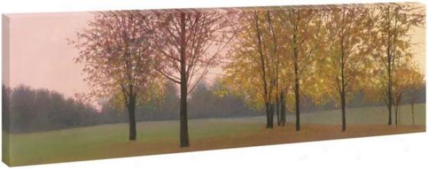 Trees At Dusk Wall Art - 28hx65wx1.5d, rGeen