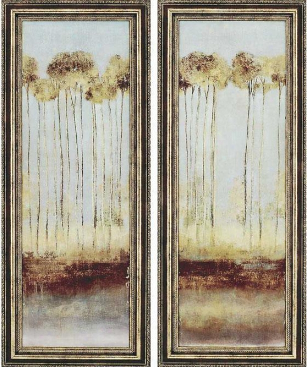 Trees Framed Wall Art - Set Of 2 - Set, Brown