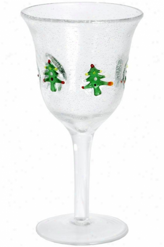 """trees Wine Glass - 7.75""""hx4""""r, Green"""