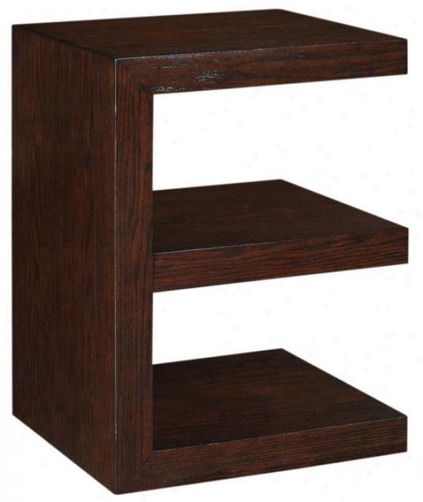 Trevor E-shape Accent Table - E-shape, Brown