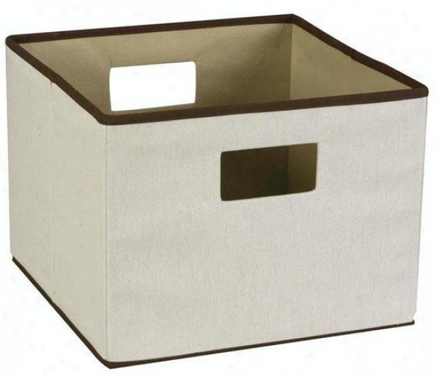 """trimmed Canvas Storage Bin - 13""""hx13""""h, Brown"""