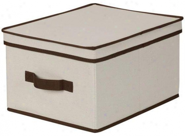 Trimmed Canvas Storage Box Upon Lid - Large, Brown