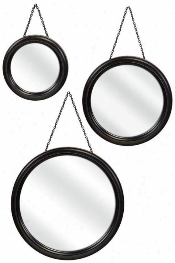 Trio Mirrors - Set Of 3 - Set Of 3, Black
