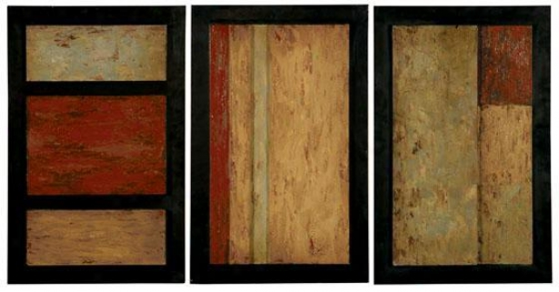 """triple Play By Grace - Set Of 3 - 28""""hx18""""w, Earthtones"""